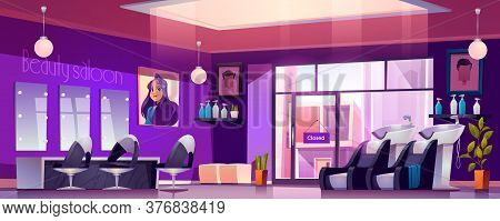 Hair Salon Interior With Hairdresser Chairs, Mirrors, Sink And Cosmetics On Shelves. Vector Cartoon