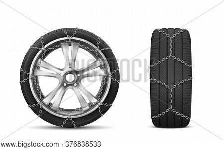 Car Tires With Snow Chains For Winter Road Front And Side View, Rubber Tyre With Steel Covers, Autom