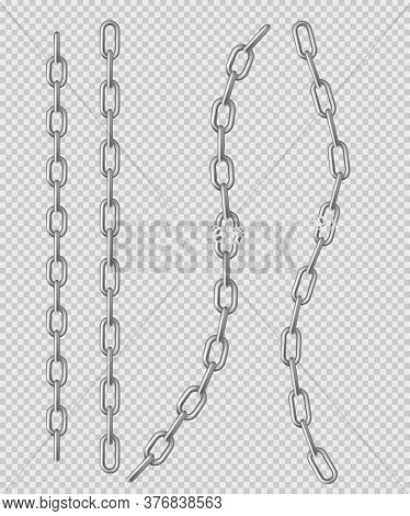 Metal Chain With Whole And Break Links Made Of Silver, Chrome Or Steel. Border With Connected Stainl