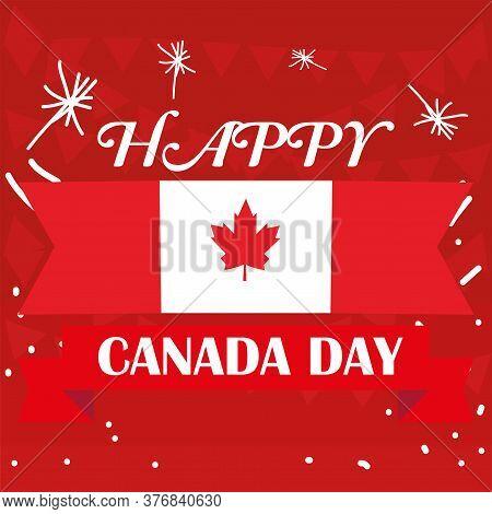 Happy Canada Day Card. Flag Of Canada - Vector