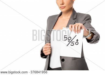 Cropped View Of Businesswoman Holding Paper With Fifty-fifty Symbols Isolated On White, Gender Equal