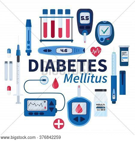 Diabetes Flat Vector Infographic Elements Set In Cartoon Style. Diabetes Equipment Icon Collection.