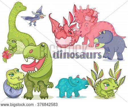 Cute T-rex, Tyrannosaurus, Pterosaur, Pterodactyl Toy Characters.