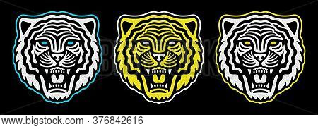 Roaring Tiger Poster. Vintage Tiger Head. Retro Design. Set Of Emblems.
