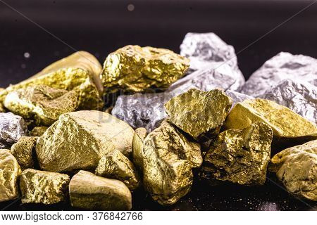 Nuggets Of Gold And Silver Piled Up, Precious Stones Used In The Industry And Jewelry. Concept Of El