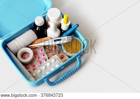 Pills, Capsules, Blisters, Nose Sprays, Bottles, Patches And Electronic Thermometer In Home Medical