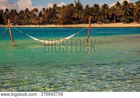 Hammock In Lagoon In Bora Bora, French Polynesia