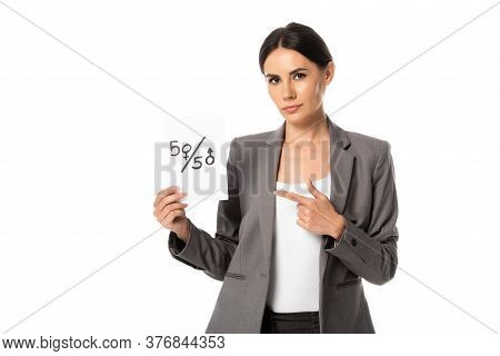 Businesswoman Pointing With Finger At Paper With Fifty-fifty Symbols Isolated On White, Gender Equal