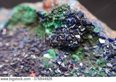 A Vibrant Blue Azurite Mineral Sample On A Black Background
