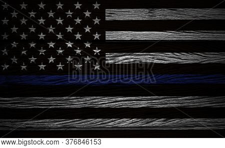An American Flag Symbolic Of Support For Law Enforcement,grunge Wood Usa Flag Illustration.