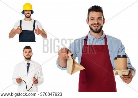 Collage Of Smiling Waiter With Coffee To Go And Paper Bag, Doctor Holding Stethoscope And Workman Sh