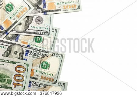 Us Dollar. American Money, Isolated On White Cash. Flying Hundred Dollars Isolated On White Backgrou