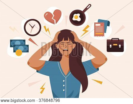 Flat Vector Illustration Of Woman With Open Mouth, Clutching At Head With Both Hands. She Suffers Fr