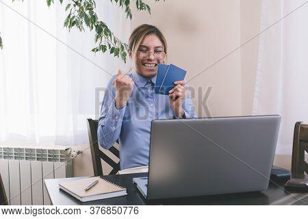 Woman Passport. Passport. Travel. Concept. Vacation. Happy Day.