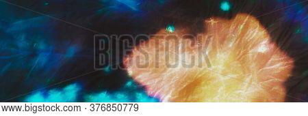 Neon Disco Tie Dye Print. Bleached Print. Indonesian Dress. Yellow, Brown Brush Stroke Canvas. Sunny