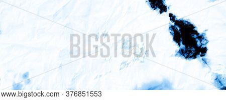 Vinter Shibori Border Design. Marbled Effect. Hippies Style. Cold Colors Colourful Paint Texture. Bl