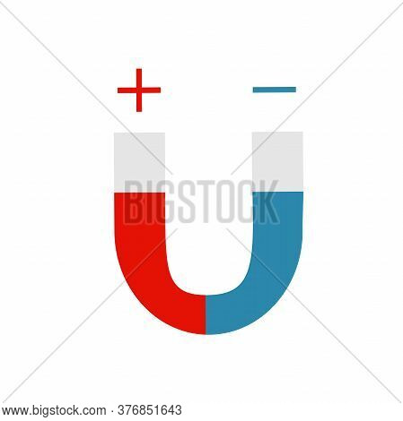 Blue And Red Horseshoe Magnet, Magnetism, Magnetize, Attraction. Flat Vector Illustration.