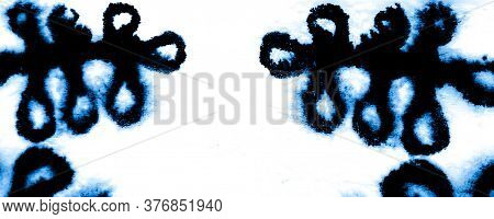 Vinter Shibori Border Design. Marbled Effect. Dirty Art Style. Indigo, White Acrylic Paint Fragment.