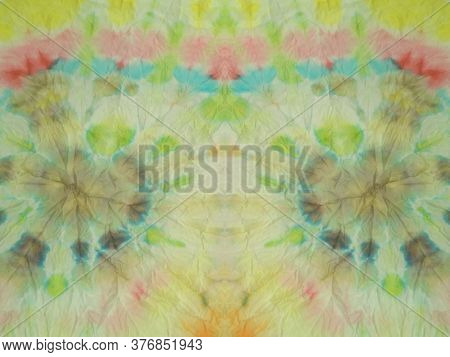 Rainbow Spiral Tie Dye Print. Mottled Pattern. Hippy Cloth. Bright Colors Grunge Wall Image. Rainbow