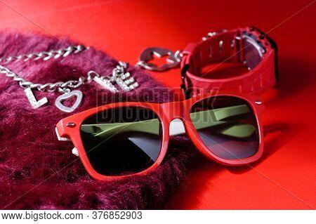 Red Plastic Sunglasses