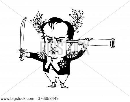 Funny Famous French General & Monarch Napoleon Bonaparte With A Sword & Telescope, Caricature, Vecto