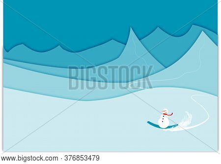 Winter Mountains Cut Style Background Illustration With A Snowman Riding A Snowboard.