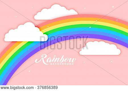 Arched Rainbow With Cloud Pink Background Vector Design Illustration