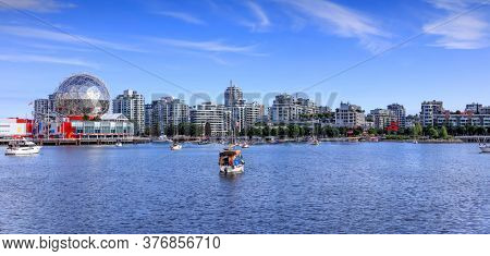 Vancouver, British Columbia, July 4,2019: Ferris help to transport people from Downtown Vancouver and Yaletown, to Vanier Park, Granville Island, and Main Street in Vancouver, Canada.