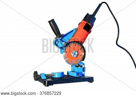Angle Grinder With Circular Saw Blade Set Up With Angle Grinder Stand For Cut Material Like Wood, Ti