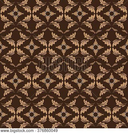 The Beauty Flower Motifs On Bantul Batik Design With Simple Dark Brown Color Design