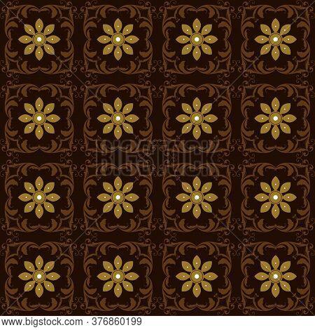 Cute Flower Motifs On Indonesia Batik Design With Simple Dark Brown Color