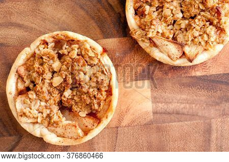 Home Made Apple Tart With Oatmeal Crumble Topping