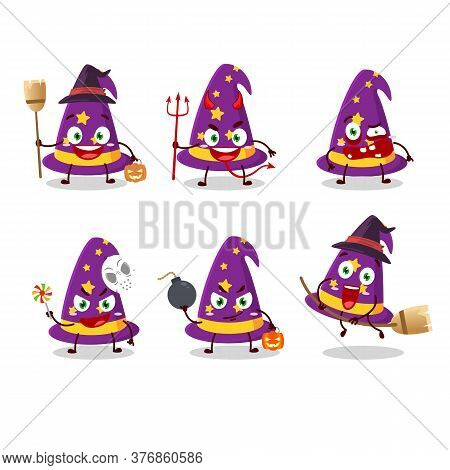 Halloween Expression Emoticons With Cartoon Character Of Wizard Hat