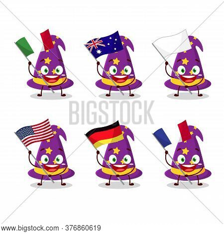 Wizard Hat Cartoon Character Bring The Flags Of Various Countries