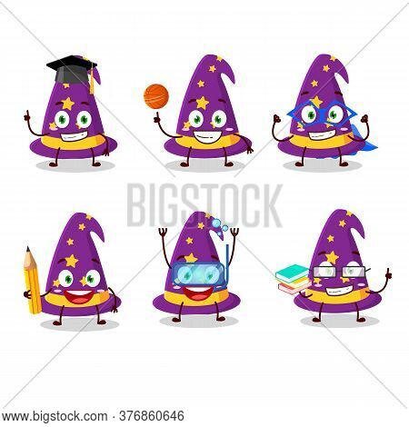 School Student Of Wizard Hat Cartoon Character With Various Expressions