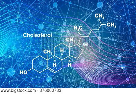 Chemical Molecular Formula Of Cholesterol. Infographics Illustration. Connected Lines With Dots Back