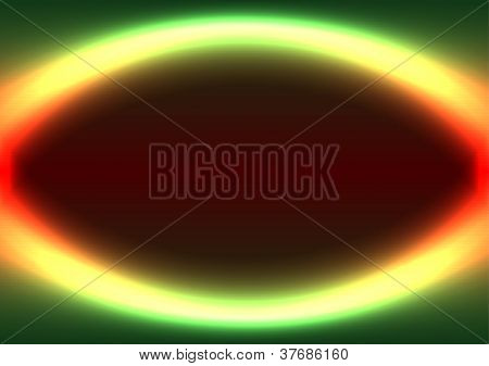 Abstract shiny ellipse frame green and red colored poster