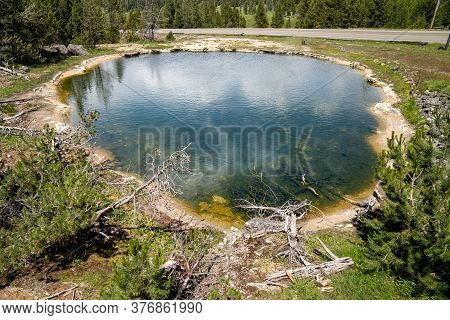 Leather Pool, A Hot Spring Geothermal Feature In The Fountain Paint Pot Area Of Yellowstone National
