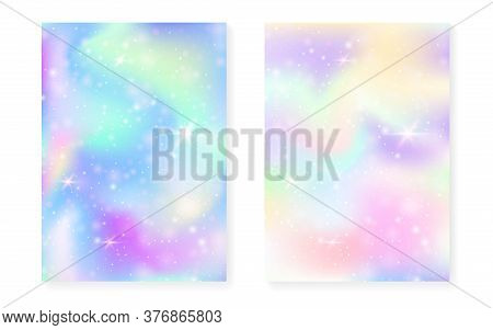Kawaii Background With Rainbow Princess Gradient. Magic Unicorn Hologram. Holographic Fairy Set. Mul