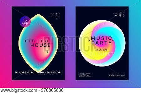 Music Fest Set. Wavy Indie Club Invitation Design. Fluid Holographic Gradient Shape And Line. Electr