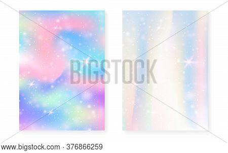 Kawaii Background With Rainbow Princess Gradient. Magic Unicorn Hologram. Holographic Fairy Set. Spe