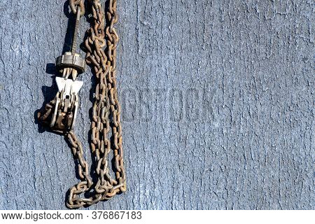 Chalks And Chains Use For Tie Down Helicopter And Aircraft To The Flight Deck Of Warship.