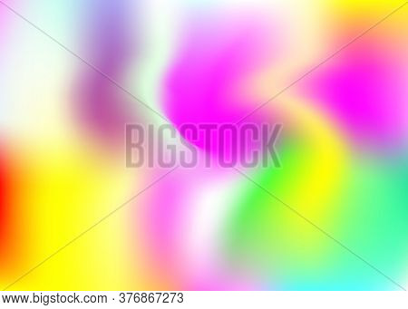 Holographic Abstract Background. Bright Holographic Backdrop With Gradient Mesh. 90s, 80s Retro Styl
