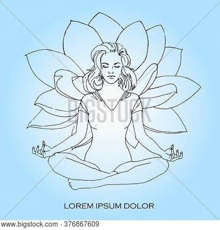 Vector Illustration Isolated. Buddhism Esoteric Motives. Tattoos, Spiritual Yoga. The Girl Sits In T