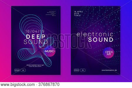 Neon Flyer. Dynamic Gradient Shape And Line. Curvy Show Invitation Set. Neon Flyer Trance Event. Tec