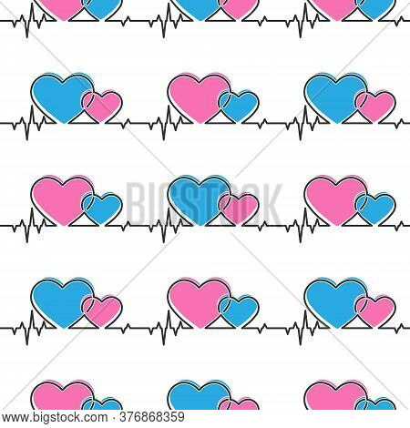 Seamless Pattern Of Heart And Cardiogram Pulses For Texture, Textiles, Simple Backgrounds And Packag