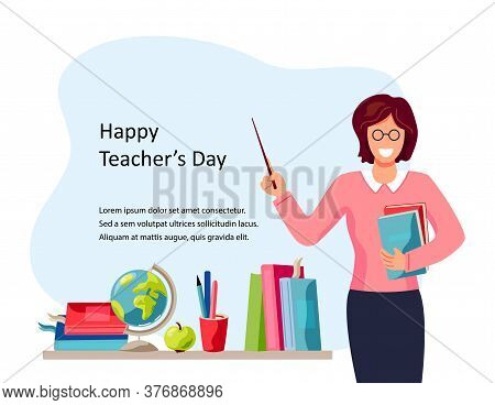 Happy Teachers Day. Smiling Female Teacher With Books. Place For Text. Vector Illustration. Flat Car