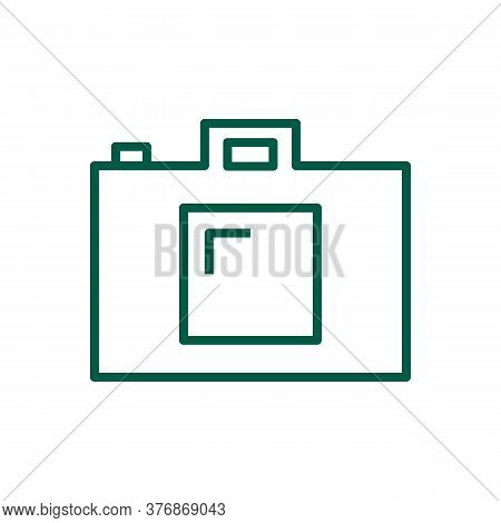 Photo Camera Vector Icon. Digital Camera For Images Pictures And Video Creative Concept. Line Art Ph