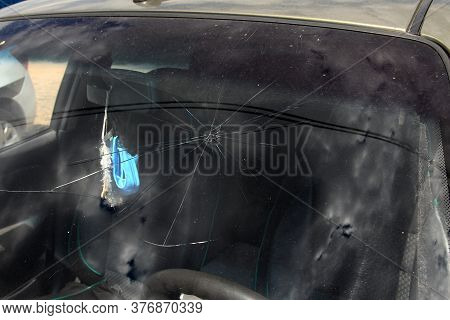 Terrible Dangerous Car After A Fatal Accident. Broken Windshield. A Broken Car With Broken Glass. Сa