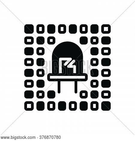 Black Solid Icon For Led Optic Bright Bulb Cathod Electronic Refractive Technology Lightbulb Illumin